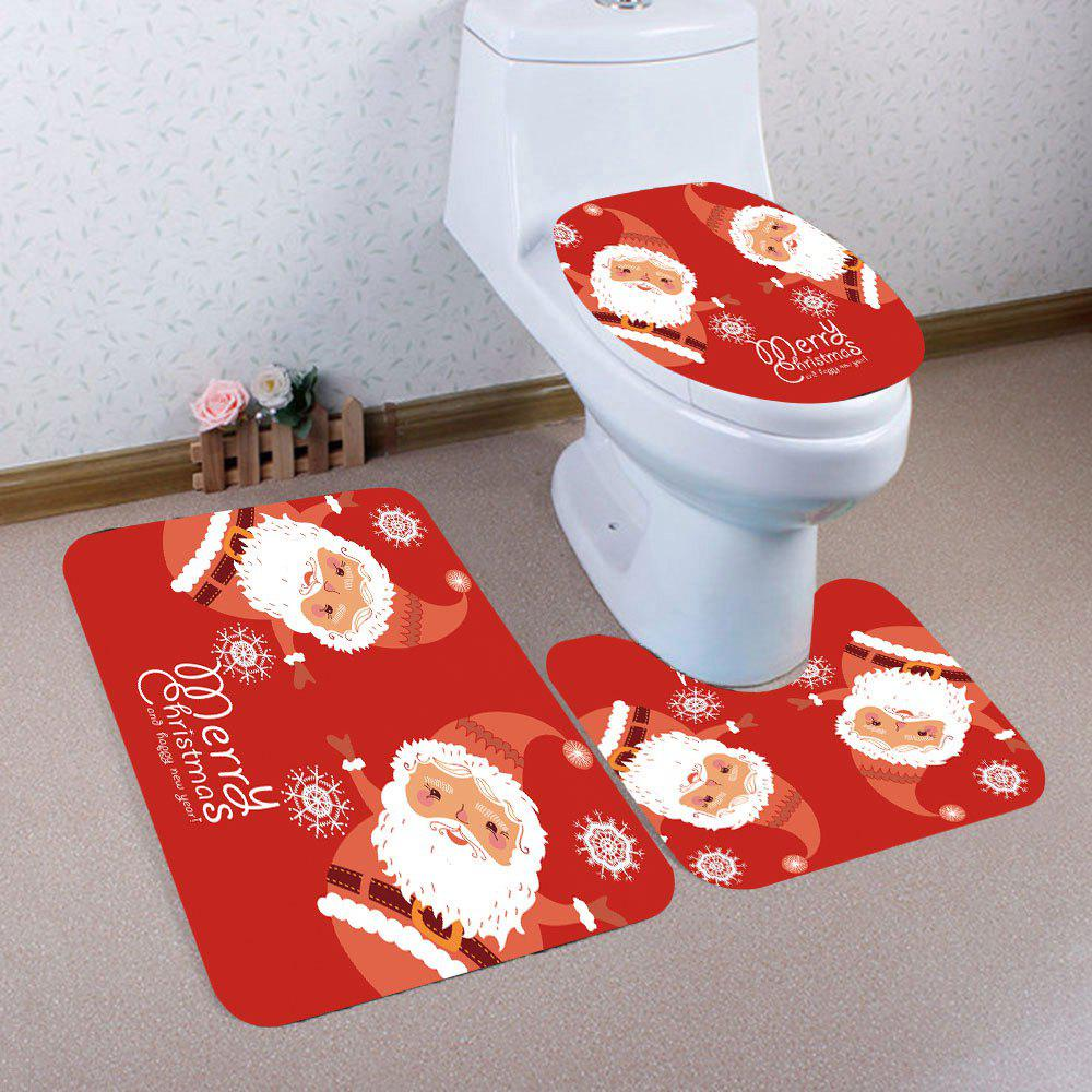 Best Santa Claus Printed 3Pcs Toilet Bath Rug Set