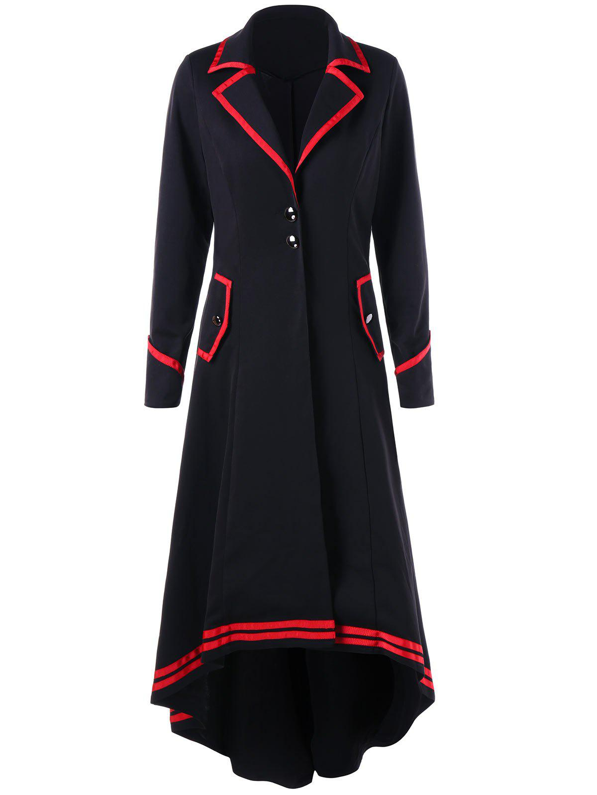 Contrast Trim High Low Hem Trench CoatWOMEN<br><br>Size: XL; Color: BLACK&amp;RED; Clothes Type: Trench; Material: Polyester; Type: Slim; Shirt Length: Long; Sleeve Length: Full; Collar: Notched Collar; Pattern Type: Solid; Style: Fashion; Season: Fall,Spring; Weight: 0.8000kg; Package Contents: 1 x Trench Coat;