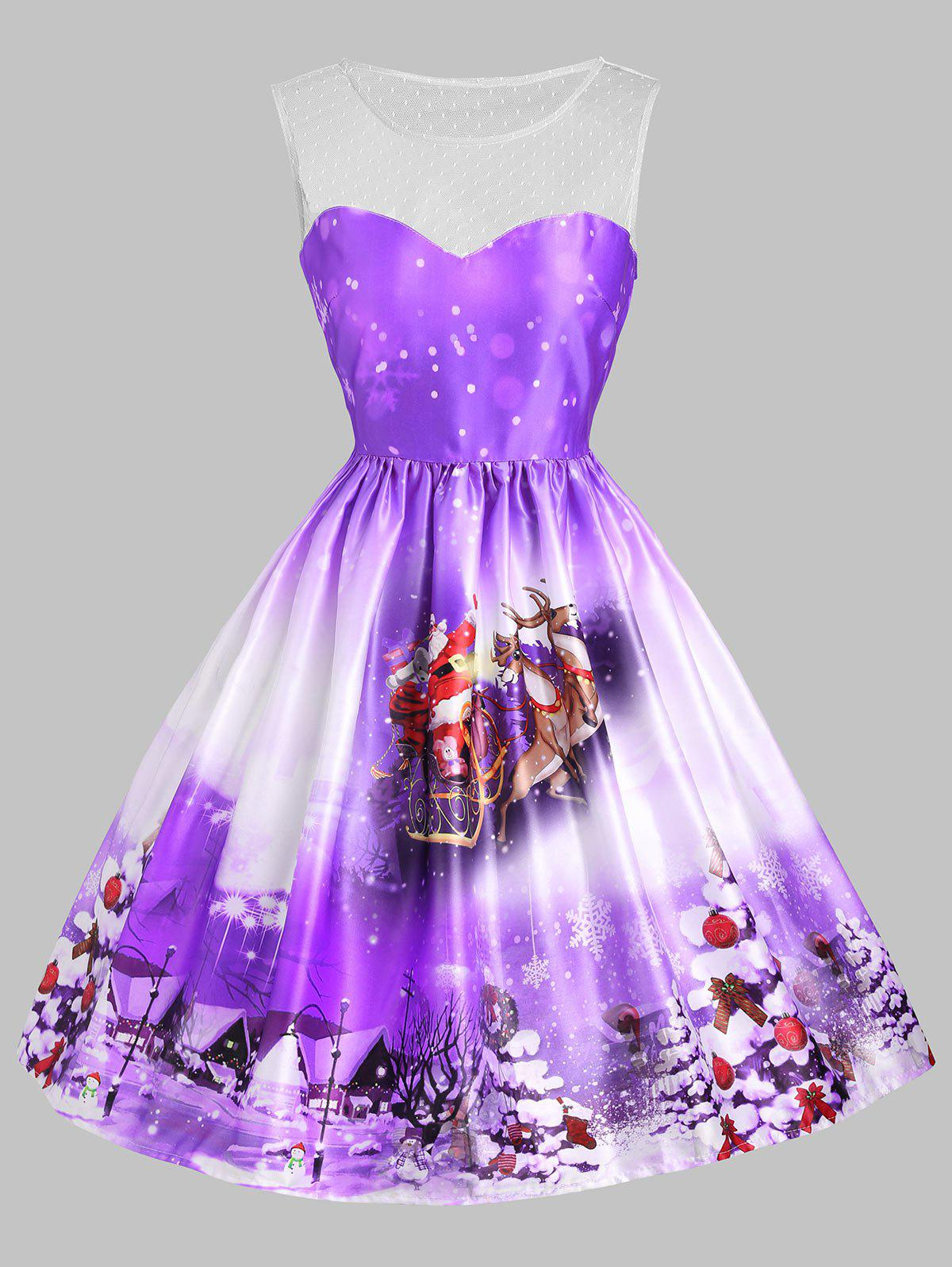 Christmas Tree Sled Mesh Insert DressWOMEN<br><br>Size: XL; Color: PURPLE; Style: Vintage; Material: Cotton,Polyester; Silhouette: A-Line; Dresses Length: Knee-Length; Neckline: Round Collar; Sleeve Length: Sleeveless; Embellishment: Mesh; Pattern Type: Animal,Plant; With Belt: No; Season: Fall,Spring,Summer; Weight: 0.3500kg; Package Contents: 1 x Dress;