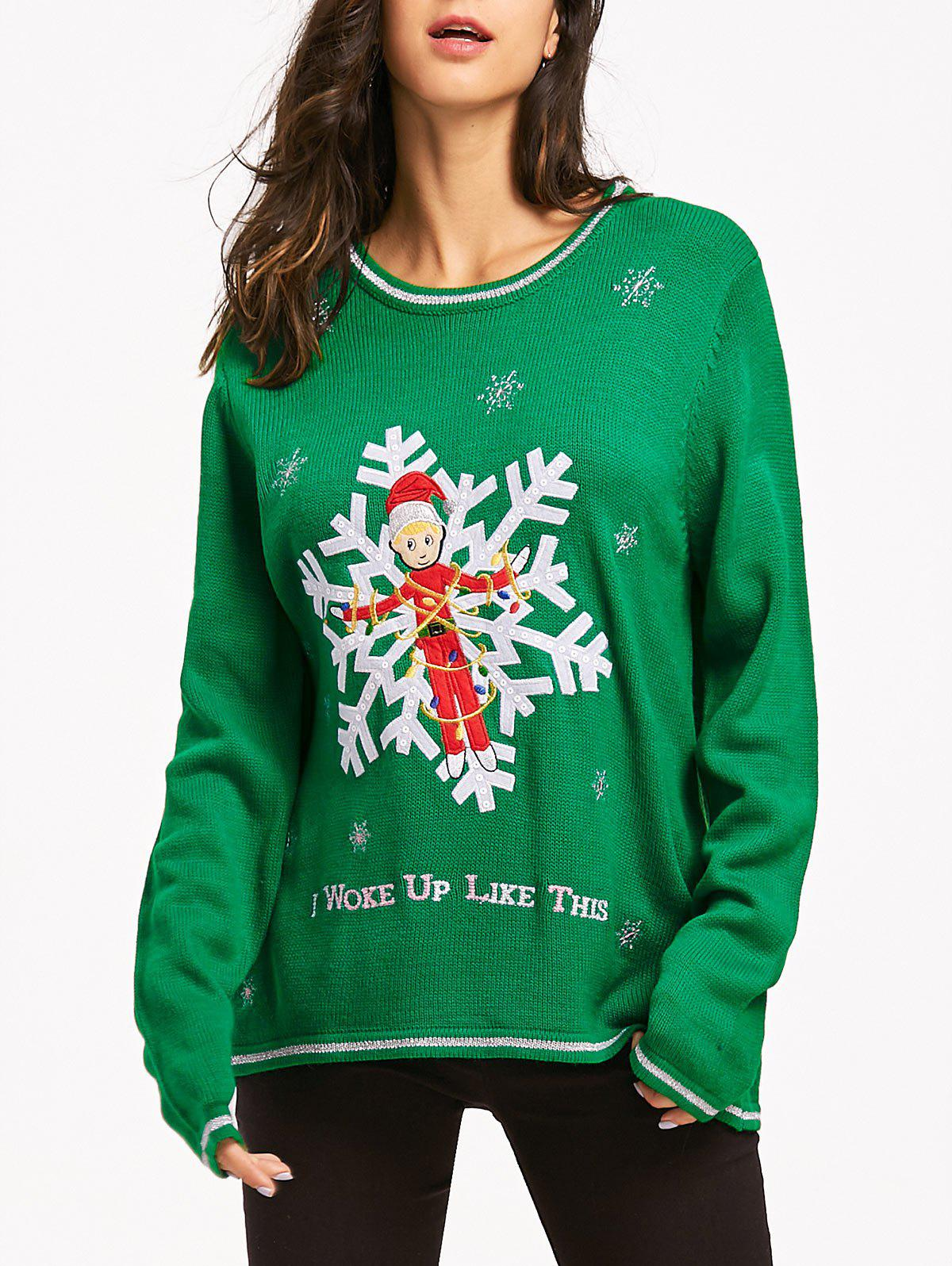 Christmas Snowflake Jacquard Letter Embroidery SweaterWOMEN<br><br>Size: ONE SIZE; Color: GREEN; Type: Pullovers; Material: Acrylic; Sleeve Length: Full; Collar: Round Neck; Style: Fashion; Pattern Type: Letter; Embellishment: Embroidery; Season: Fall,Spring,Winter; Weight: 0.4650kg; Package Contents: 1 x Sweater;