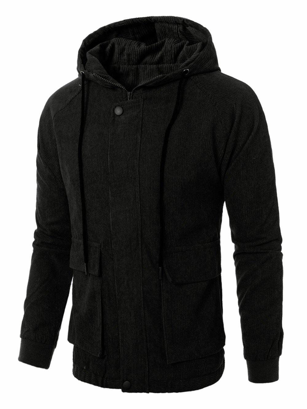 Cheap Graphic Embroidered Corduroy Zip Up Jacket