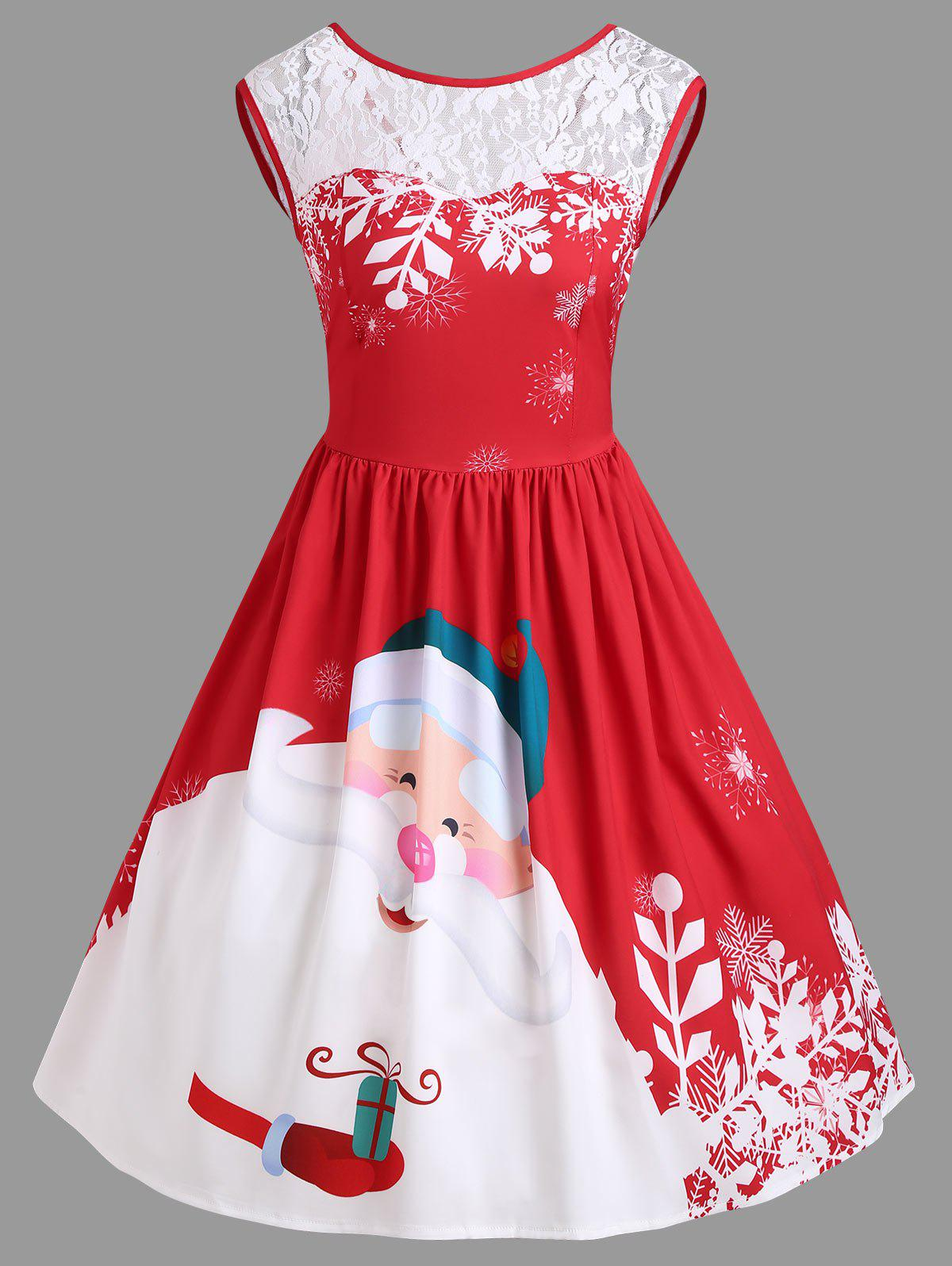 Christmas Santa Claus Print Lace Insert Party DressWOMEN<br><br>Size: XL; Color: RED; Style: Vintage; Material: Polyester,Spandex; Silhouette: A-Line; Dresses Length: Knee-Length; Neckline: Round Collar; Sleeve Length: Sleeveless; Pattern Type: Patchwork,Print; With Belt: No; Season: Fall,Spring; Weight: 0.3500kg; Package Contents: 1 x Dress;