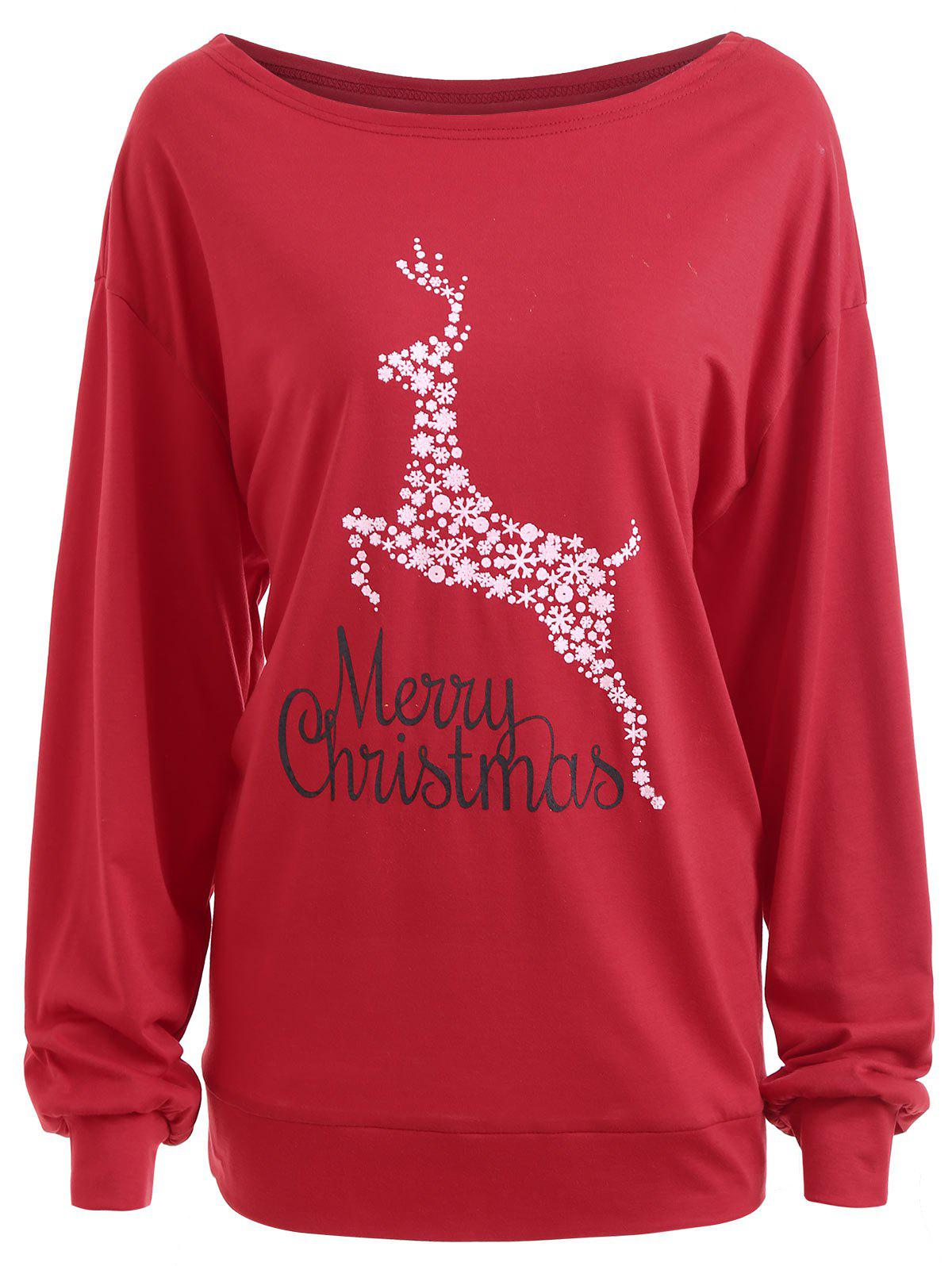 Plus Size Merry Christmas Deer Graphic T-shirtWOMEN<br><br>Size: 2XL; Color: RED; Material: Cotton Blends,Polyester; Shirt Length: Regular; Sleeve Length: Full; Collar: Convertible Collar; Style: Casual; Season: Fall,Winter; Pattern Type: Animal,Floral; Weight: 0.3100kg; Package Contents: 1 x Tee;