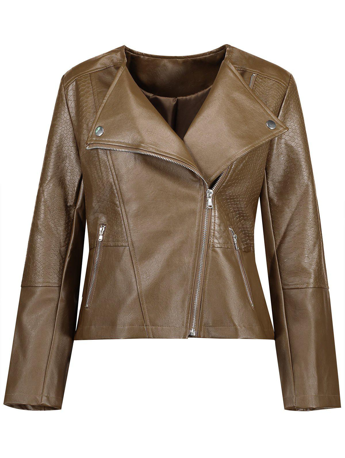 Plus Size Inclined Zipper Faux Leather Biker JacketWOMEN<br><br>Size: 5XL; Color: DARK CAMEL; Clothes Type: Jackets; Material: Cotton,Polyester; Type: Slim; Shirt Length: Regular; Sleeve Length: Full; Collar: Lapel; Pattern Type: Solid; Embellishment: Rivet; Style: Punk; Season: Fall,Spring; With Belt: No; Weight: 0.5850kg; Package Contents: 1 x Jacket;