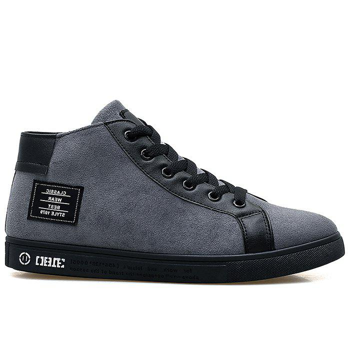 Store Faux Suede Graphic Patched High Top Sneakers