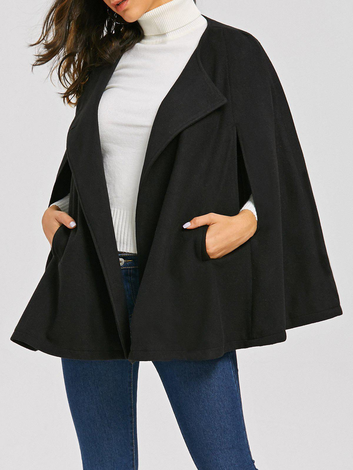 Batwing Sleeve Woollen Cape CoatWOMEN<br><br>Size: 2XL; Color: BLACK; Clothes Type: Wool &amp; Blends; Material: Polyester; Type: Bat Sleeved; Shirt Length: Regular; Sleeve Length: Full; Collar: Round Collar; Pattern Type: Solid; Style: Fashion; Season: Fall,Spring; Weight: 0.7000kg; Package Contents: 1 x Coat;