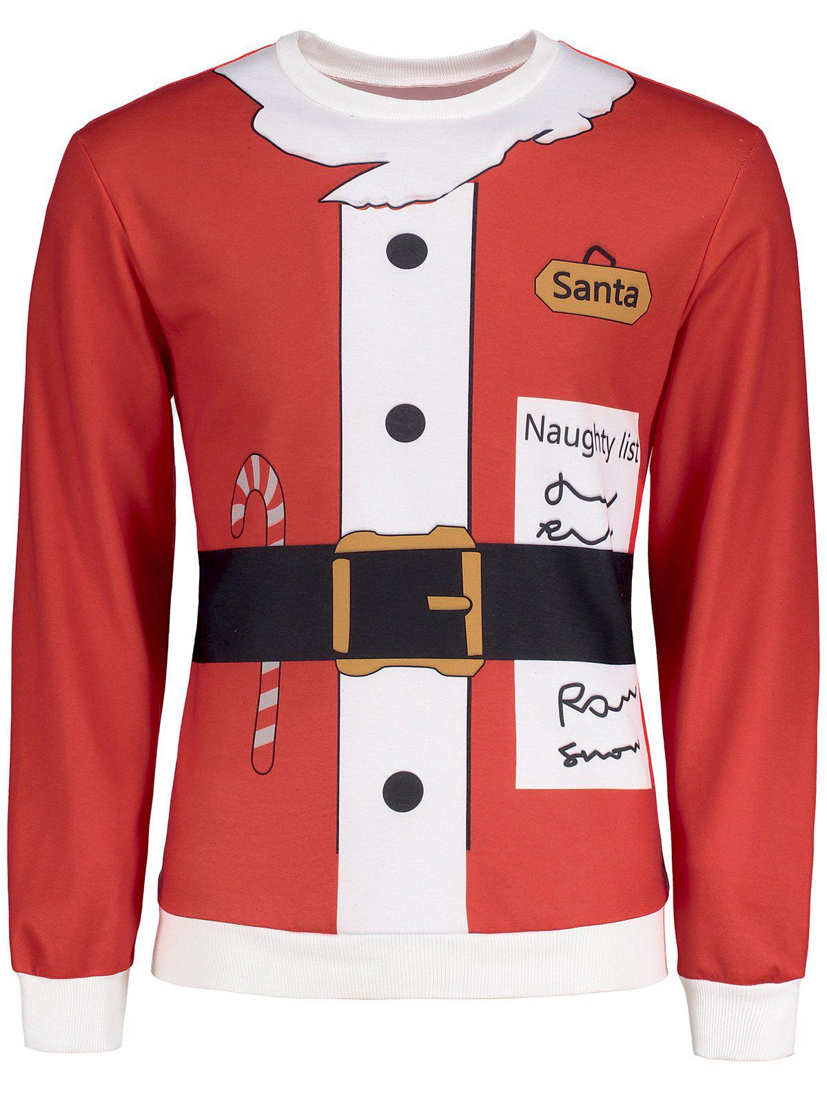 Santa Graphic Christmas Long Sleeve T-shirtMEN<br><br>Size: XL; Color: RED; Material: Polyester,Spandex; Sleeve Length: Full; Collar: Crew Neck; Style: Casual,Fashion; Pattern Type: Print; Season: Fall,Winter; Weight: 0.3850kg; Package Contents: 1 x T-shirt;