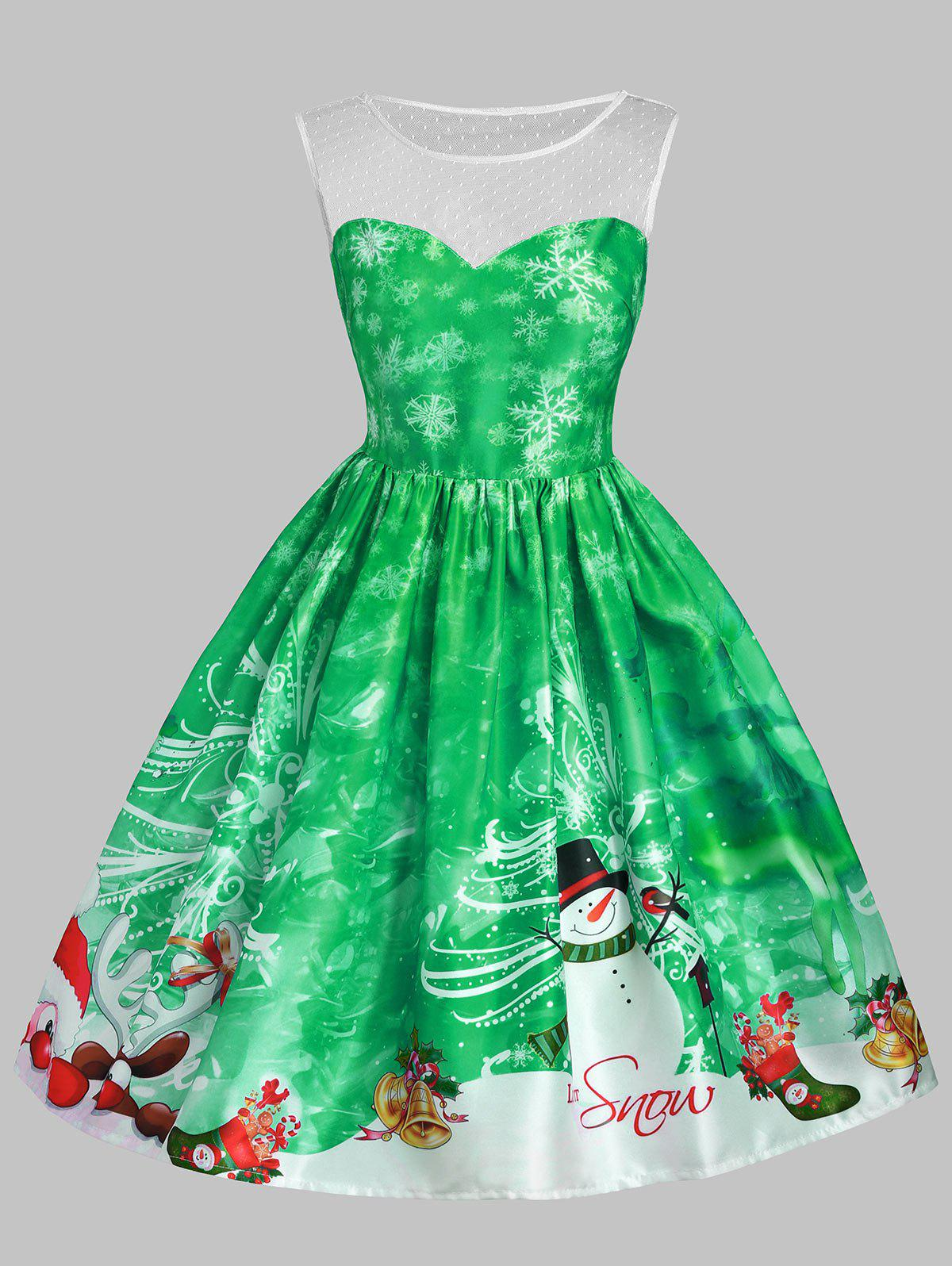 Christmas Snowman Snowflake Mesh Insert DressWOMEN<br><br>Size: XL; Color: GREEN; Style: Vintage; Material: Cotton,Polyester; Silhouette: A-Line; Dresses Length: Knee-Length; Neckline: Round Collar; Sleeve Length: Sleeveless; Embellishment: Mesh; Pattern Type: Letter,Print; With Belt: No; Season: Fall,Spring,Summer; Weight: 0.3500kg; Package Contents: 1 x Dress;