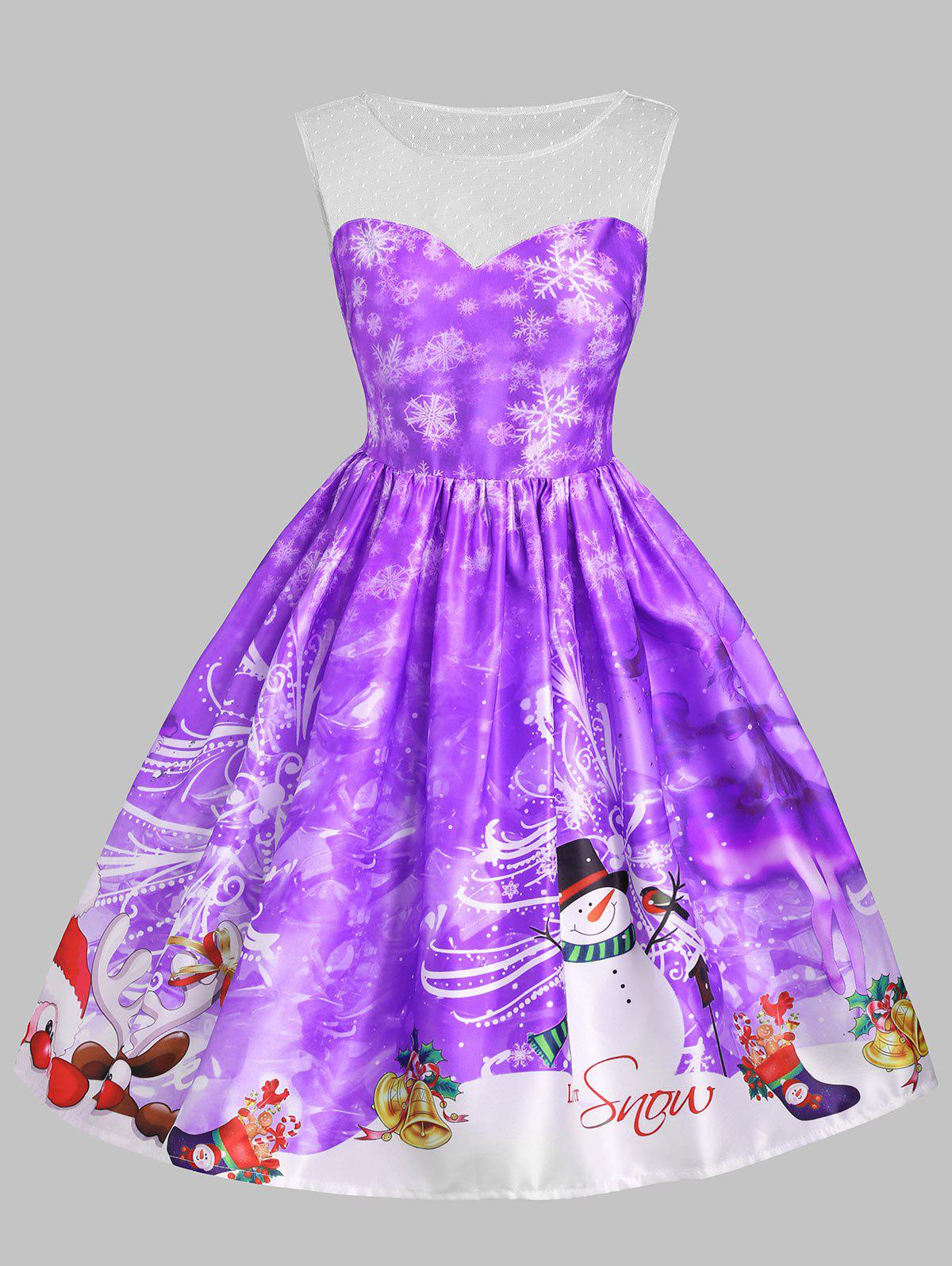 Christmas Snowman Snowflake Mesh Insert DressWOMEN<br><br>Size: M; Color: PURPLE; Style: Vintage; Material: Cotton,Polyester; Silhouette: A-Line; Dresses Length: Knee-Length; Neckline: Round Collar; Sleeve Length: Sleeveless; Embellishment: Mesh; Pattern Type: Letter,Print; With Belt: No; Season: Fall,Spring,Summer; Weight: 0.3500kg; Package Contents: 1 x Dress;