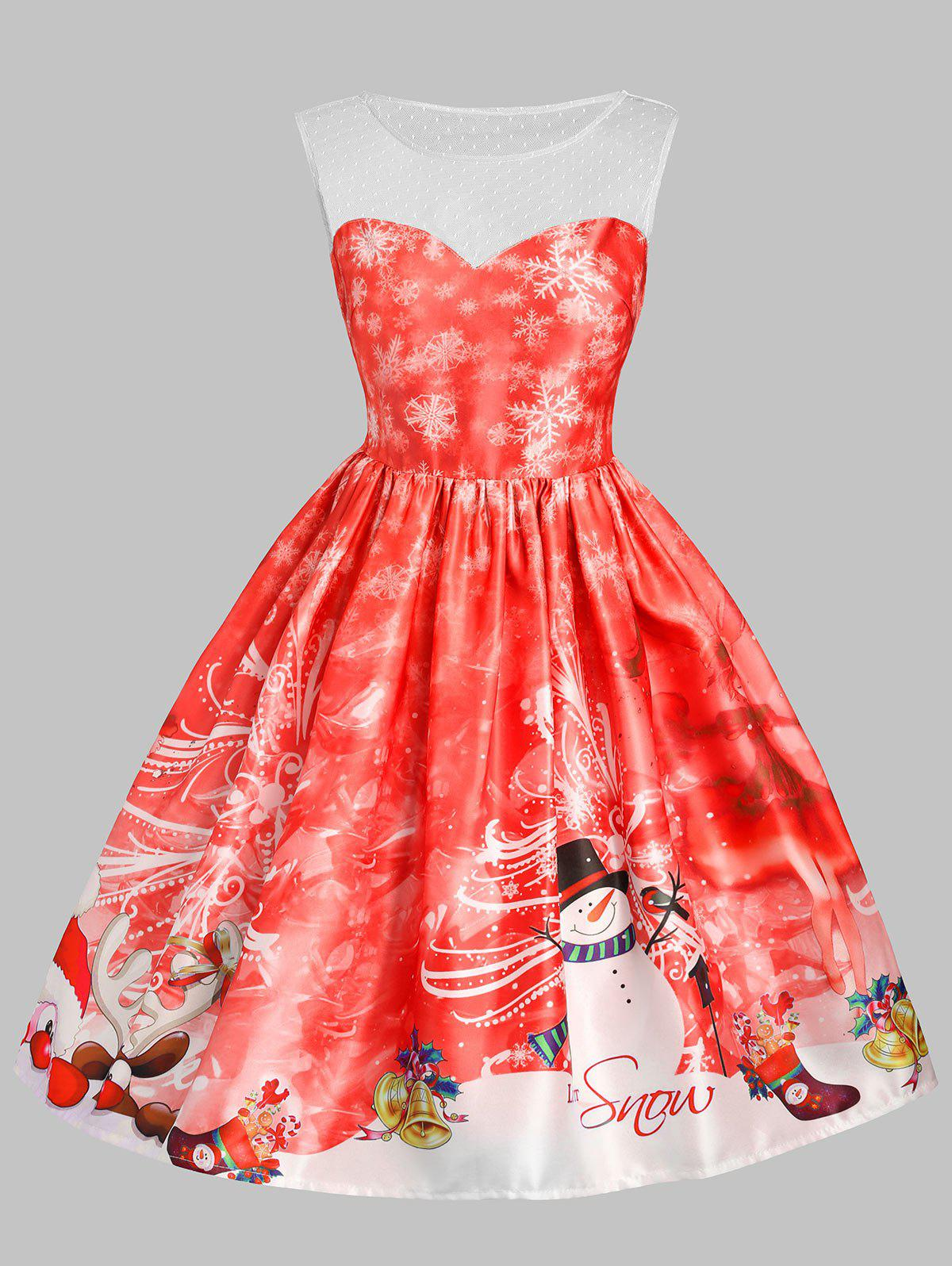 Christmas Snowman Snowflake Mesh Insert DressWOMEN<br><br>Size: S; Color: RED; Style: Vintage; Material: Cotton,Polyester; Silhouette: A-Line; Dresses Length: Knee-Length; Neckline: Round Collar; Sleeve Length: Sleeveless; Embellishment: Mesh; Pattern Type: Letter,Print; With Belt: No; Season: Fall,Spring,Summer; Weight: 0.3500kg; Package Contents: 1 x Dress;
