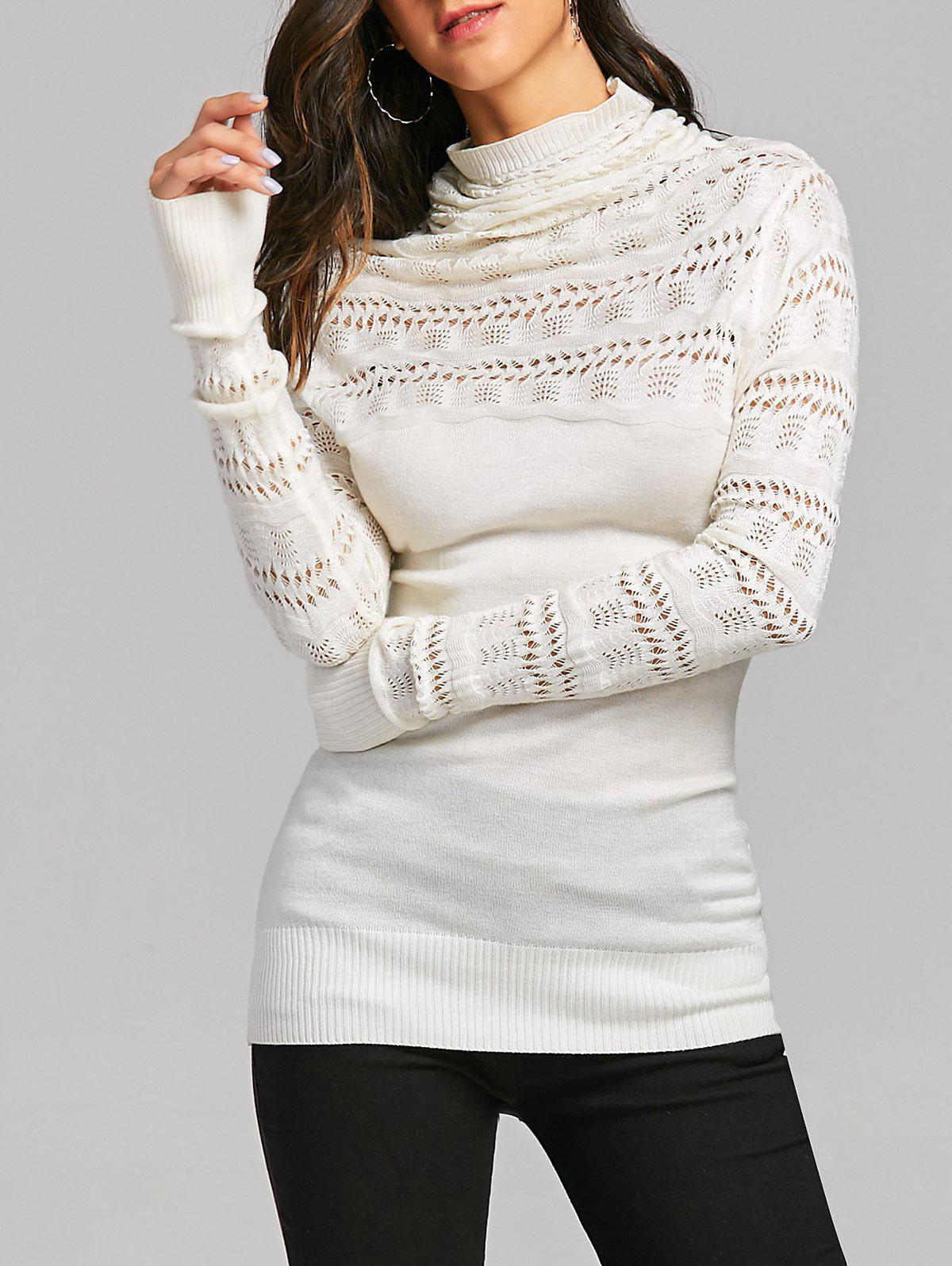 Cowl Neck Open Knitted Jumper SweaterWOMEN<br><br>Size: ONE SIZE; Color: OFF-WHITE; Type: Pullovers; Material: Acrylic,Polyester; Sleeve Length: Full; Collar: Cowl Neck; Style: Casual; Pattern Type: Solid; Embellishment: Hollow Out; Season: Fall,Spring; Weight: 0.2700kg; Package Contents: 1 x Sweater;