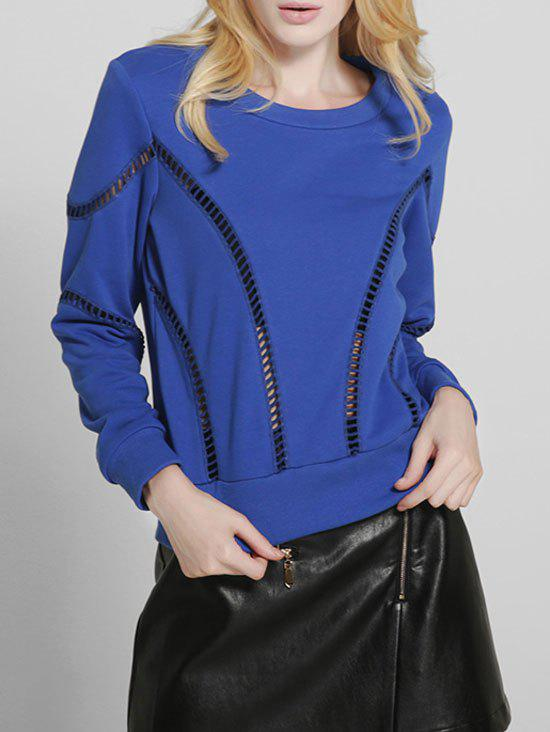 Trendy Hollow Out Crew Neck Sweater