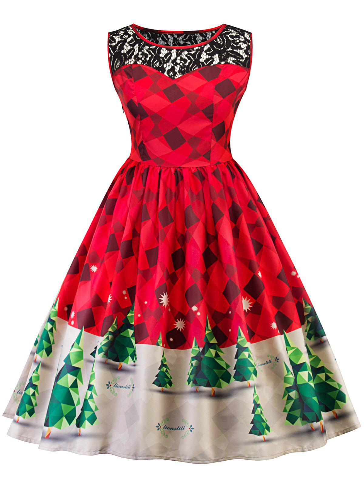Vintage Christmas Lace Insert Pin Up Skater DressWOMEN<br><br>Size: M; Color: RED; Style: Vintage; Material: Polyester; Silhouette: A-Line; Dresses Length: Knee-Length; Neckline: Round Collar; Sleeve Length: Sleeveless; Pattern Type: Patchwork,Print; With Belt: No; Season: Fall,Spring; Weight: 0.2800kg; Package Contents: 1 x Dress;