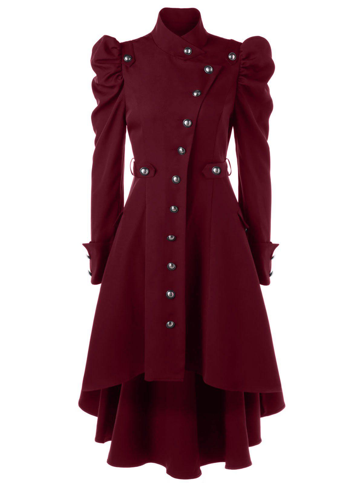 Puff Shoulder Single Breasted Dip Hem Trench CoatWOMEN<br><br>Size: XL; Color: BORDEAUX; Clothes Type: Trench; Material: Polyester; Type: High Waist; Shirt Length: Long; Sleeve Length: Full; Collar: Stand-Up Collar; Pattern Type: Solid; Style: Vintage; Season: Fall,Spring; Weight: 0.7000kg; Package Contents: 1 x Trench Coat;