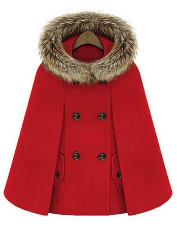 Hooded Double Breasted Cloak CoatWOMEN<br><br>Size: XL; Color: RED; Clothes Type: Others; Material: Polyester; Type: Wide-waisted; Shirt Length: Regular; Sleeve Length: Full; Collar: Hooded; Pattern Type: Others; Style: Fashion; Season: Winter; Weight: 0.9500kg; Package Contents: 1 x Coat;