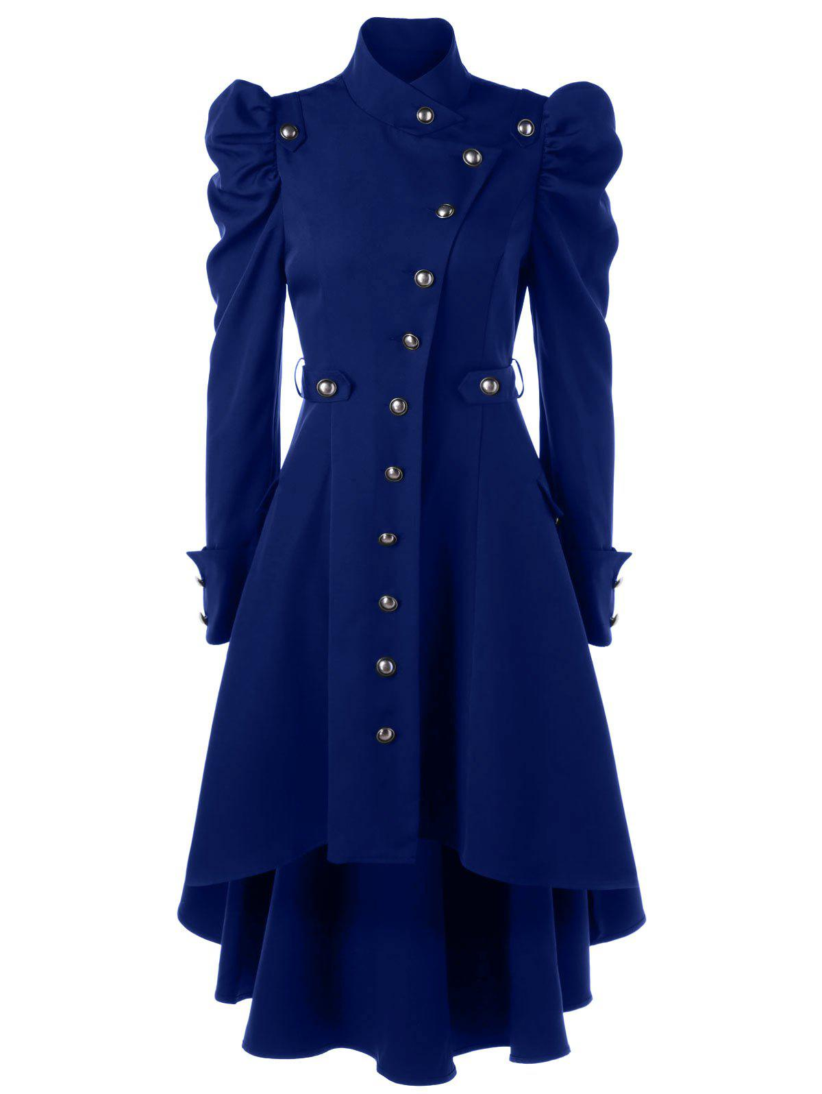 Puff Shoulder Single Breasted Dip Hem Trench CoatWOMEN<br><br>Size: 2XL; Color: PURPLISH BLUE; Clothes Type: Trench; Material: Polyester; Type: High Waist; Shirt Length: Long; Sleeve Length: Full; Collar: Stand-Up Collar; Pattern Type: Solid; Style: Vintage; Season: Fall,Spring; Weight: 0.7000kg; Package Contents: 1 x Trench Coat;