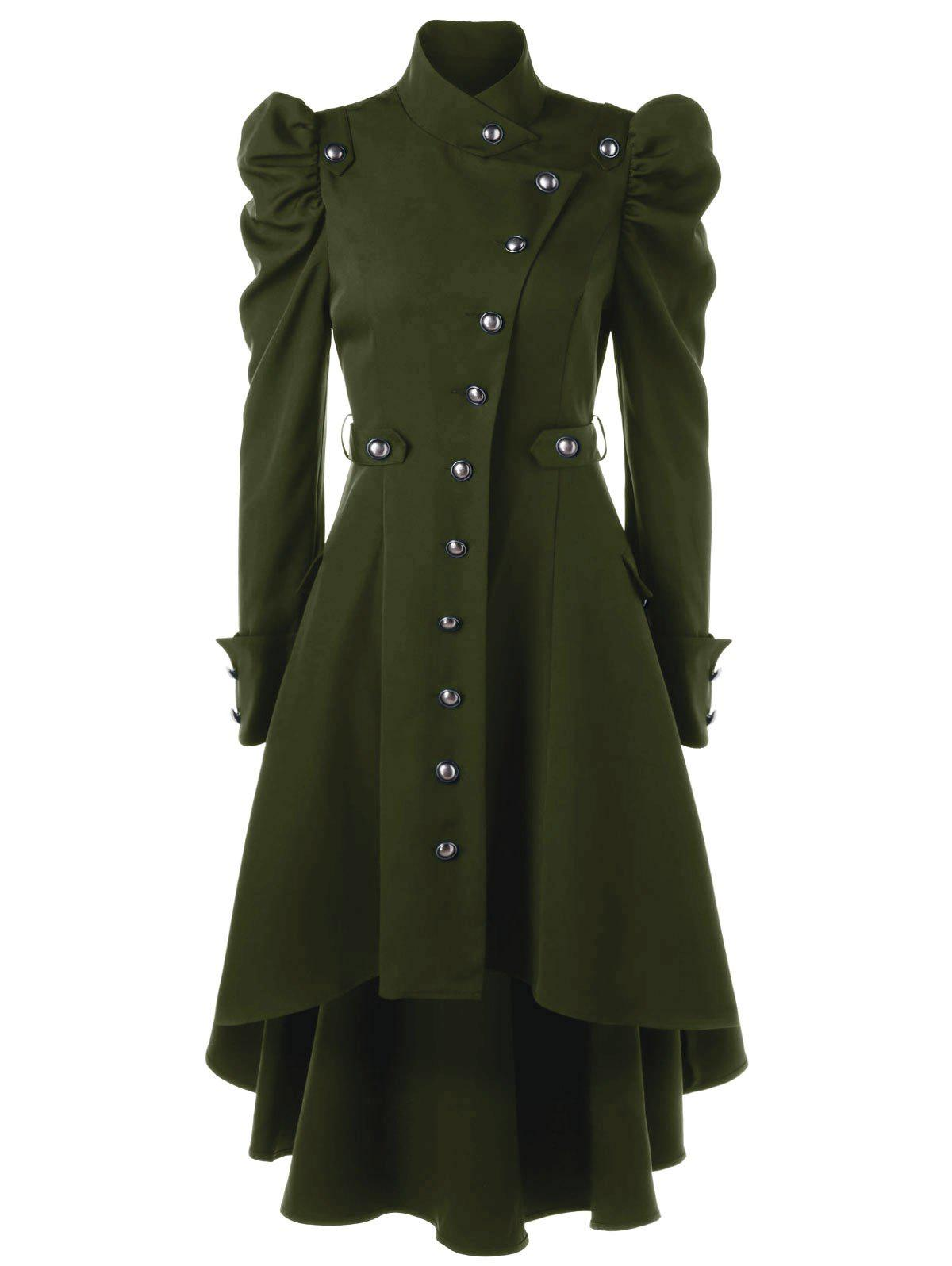 Puff Shoulder Single Breasted Dip Hem Trench CoatWOMEN<br><br>Size: L; Color: ARMY GREEN; Clothes Type: Trench; Material: Polyester; Type: High Waist; Shirt Length: Long; Sleeve Length: Full; Collar: Stand-Up Collar; Pattern Type: Solid; Style: Vintage; Season: Fall,Spring; Weight: 0.7000kg; Package Contents: 1 x Trench Coat;