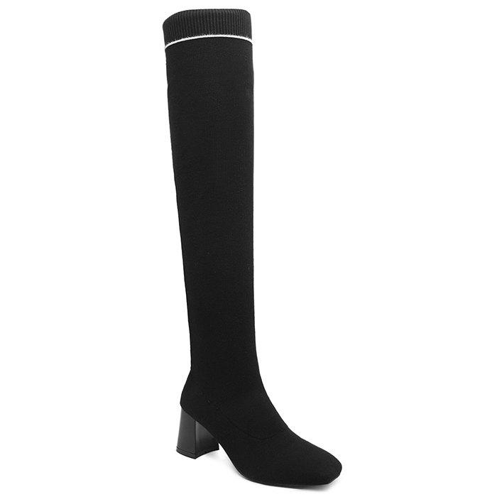 Outfits Square Toe Elastic Slip On Over the Knee Boots
