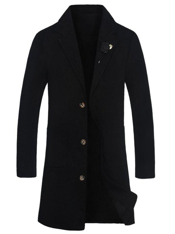 Buy Notch Lapel Rose Embellished Wool Blend Coat