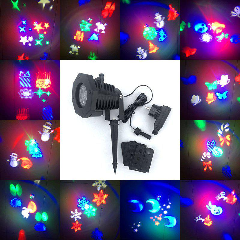 12 Pattern Lens Replaceable Christmas LED Projector LampHOME<br><br>Size: US; Color: BLACK; Products Type: Novelty Lighting; Materials: ABS, Plastic; Style: Novelty; Occasion: Anniversary,Brithday Party,Christmas Day,Halloween,Holiday,Outdoor; Weight: 2.4000kg; Package Contents: 1 x Projector Lamp 1 x Power Plug 1 x Ground Stake  12 x Slides;