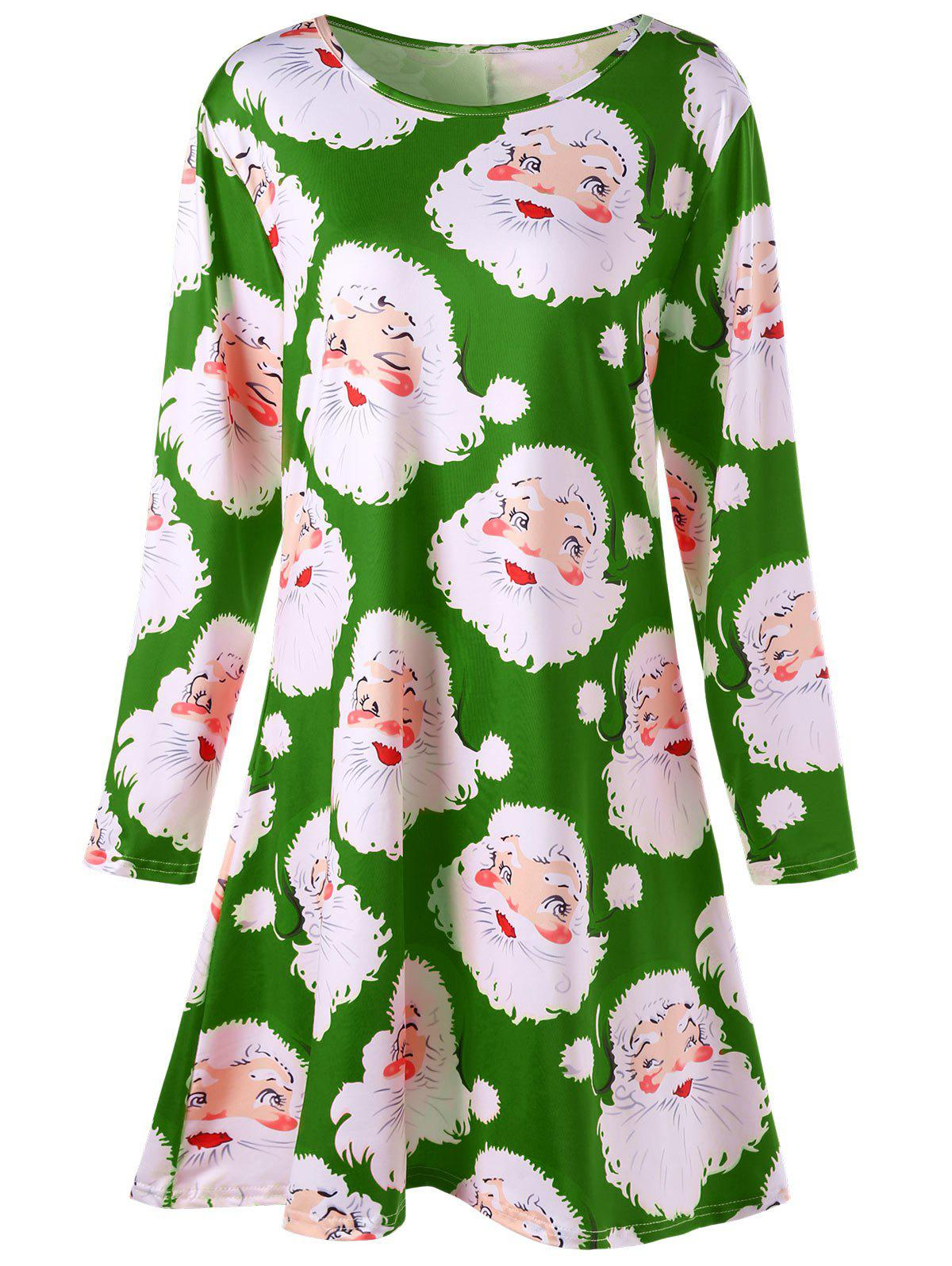 Santa Claus Print Mini Plus Size Swing Skater DressWOMEN<br><br>Size: XL; Color: GREEN; Style: Brief; Material: Polyester,Spandex; Silhouette: A-Line; Dresses Length: Mini; Neckline: Round Collar; Sleeve Length: Long Sleeves; Pattern Type: Print; With Belt: No; Season: Fall,Spring; Weight: 0.4200kg; Package Contents: 1 x Dress;