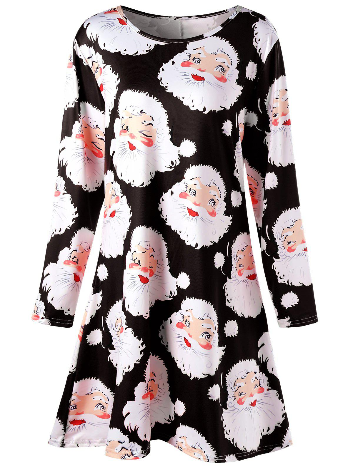 Santa Claus Print Mini Plus Size Swing Skater DressWOMEN<br><br>Size: 5XL; Color: BLACK; Style: Brief; Material: Polyester,Spandex; Silhouette: A-Line; Dresses Length: Mini; Neckline: Round Collar; Sleeve Length: Long Sleeves; Pattern Type: Print; With Belt: No; Season: Fall,Spring; Weight: 0.4200kg; Package Contents: 1 x Dress;