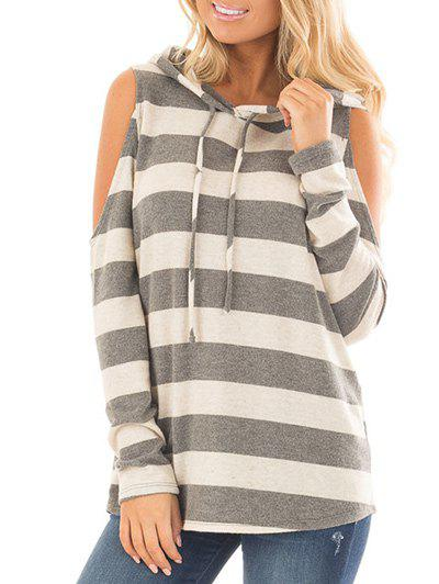New Cold Shoulder Striped Hooded T-shirt