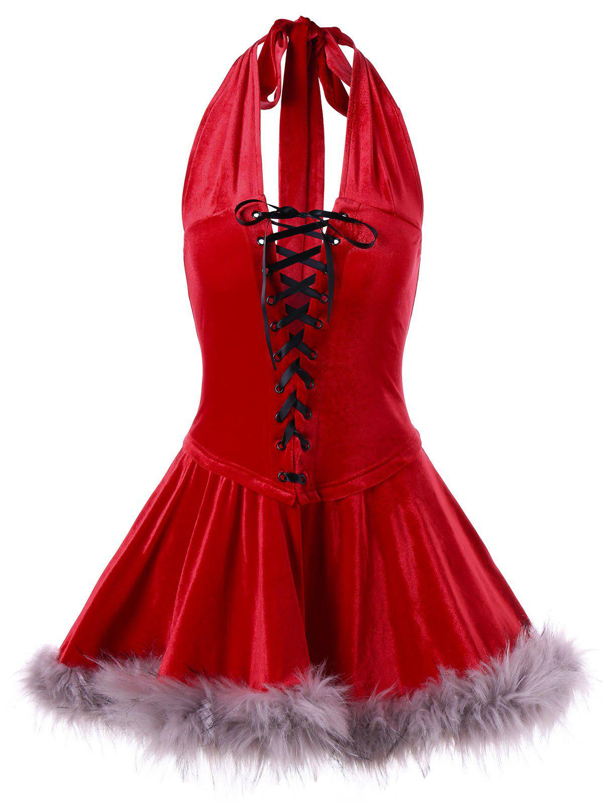 Best Christmas Vintage Halter Lace Up Dress