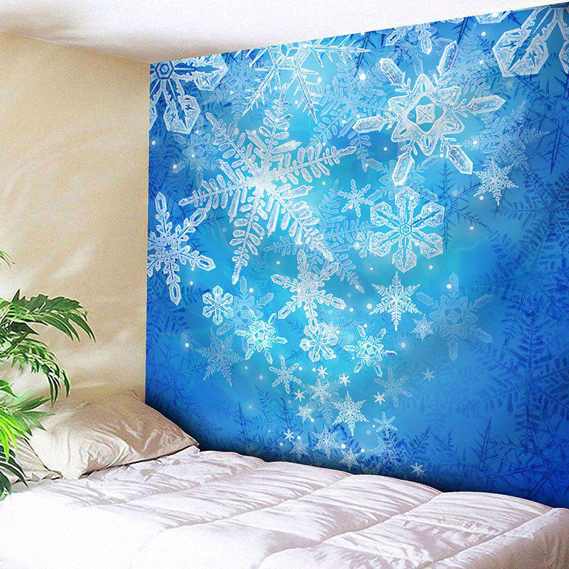 Wall Hanging Christmas Snowflake Printed TapestryHOME<br><br>Size: W91 INCH * L71 INCH; Color: BLUE; Style: Festival; Theme: Christmas; Material: Cotton,Polyester; Feature: Removable,Washable; Shape/Pattern: Print; Weight: 0.3950kg; Package Contents: 1 x Tapestry;
