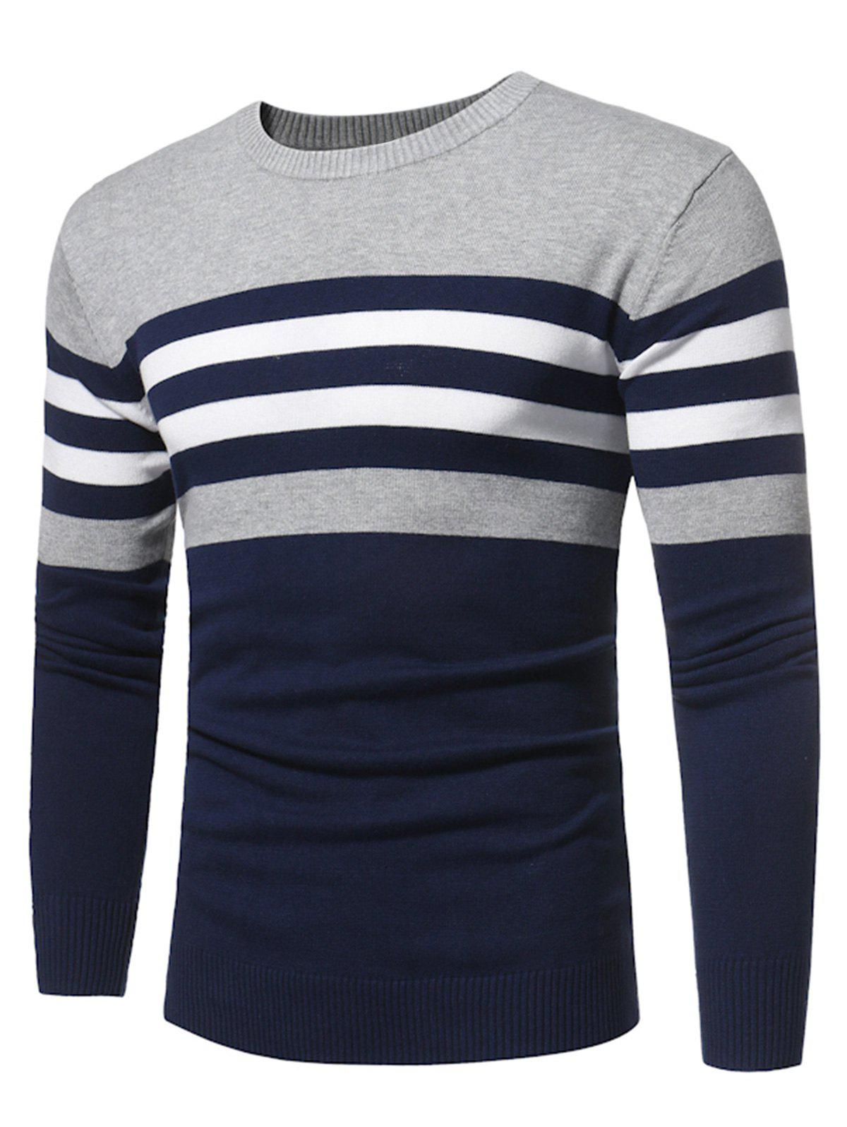 Color Block Stripe Panel Knitted SweaterMEN<br><br>Size: 2XL; Color: DEEP BLUE; Type: Pullovers; Material: Cotton,Polyester; Sleeve Length: Full; Collar: Crew Neck; Style: Fashion; Weight: 0.3500kg; Package Contents: 1 x Sweater;