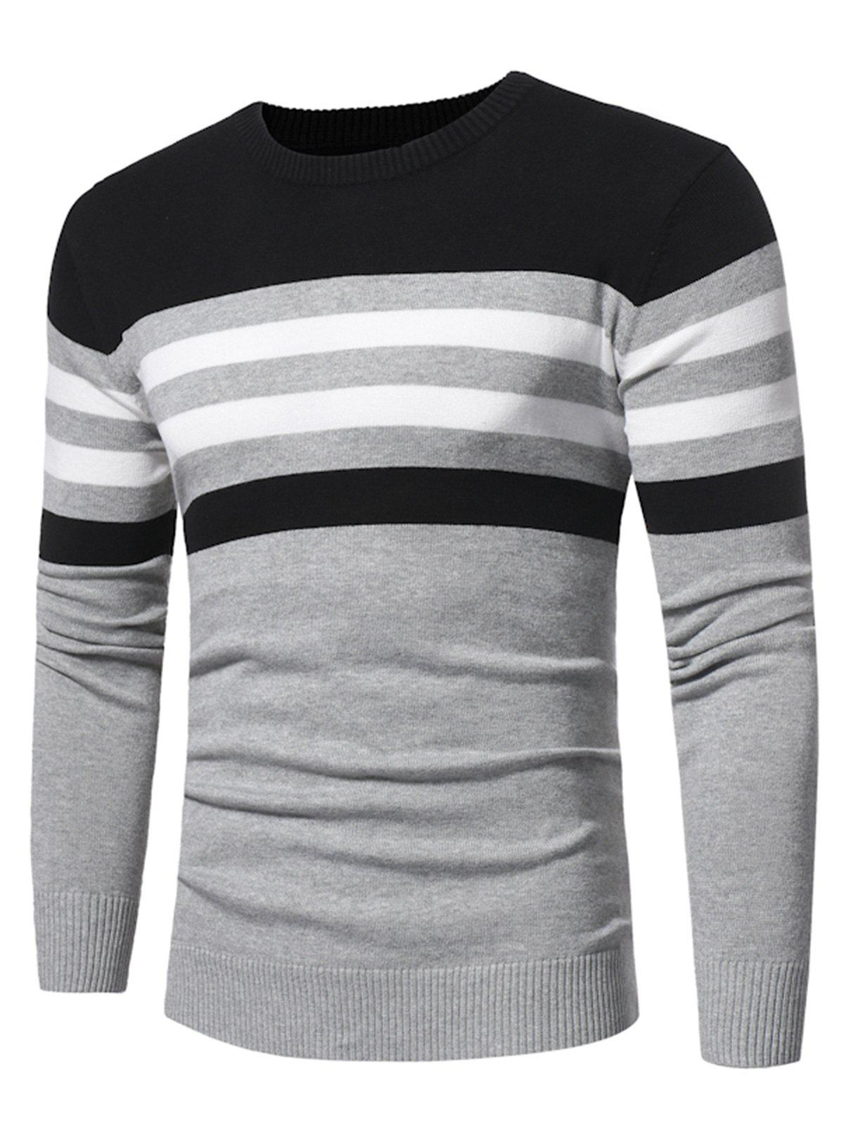 Sale Color Block Stripe Panel Knitted Sweater