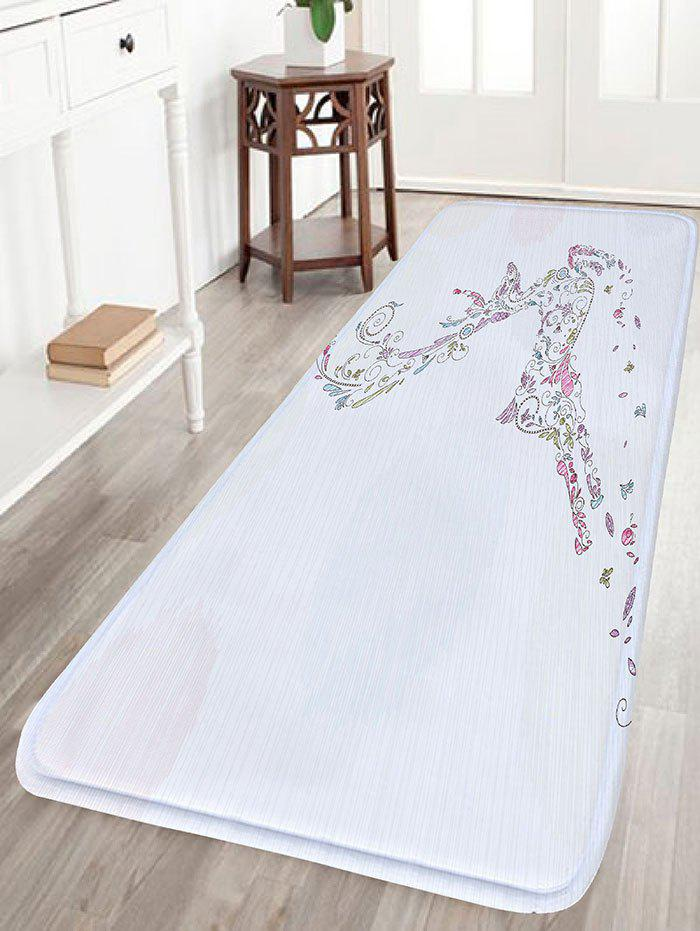 Christmas Deer Print Flannel Nonslip Bath RugHOME<br><br>Size: W16 INCH * L47 INCH; Color: WHITE; Products Type: Bath rugs; Materials: Flannel; Pattern: Animal; Style: Festival; Shape: Rectangular; Package Contents: 1 x Rug;