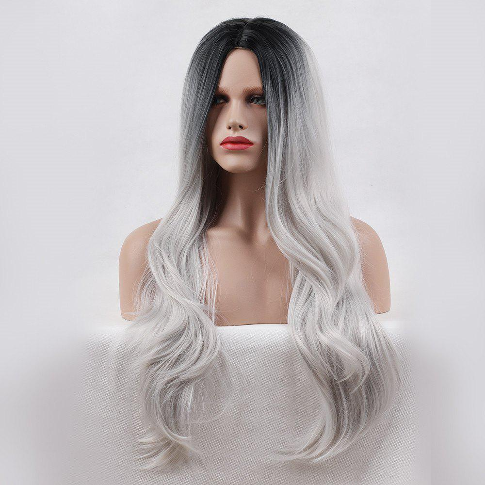 Long Center Parting Ombre Layered Wavy Synthetic WigHAIR<br><br>Size: 24INCH; Color: BLACK AND GREY; Type: Full Wigs; Cap Construction: Capless; Style: Wavy; Material: Synthetic Hair; Bang Type: Middle; Length: Long; Length Size(CM): 65; Weight: 0.3000kg; Package Contents: 1 x Wig;