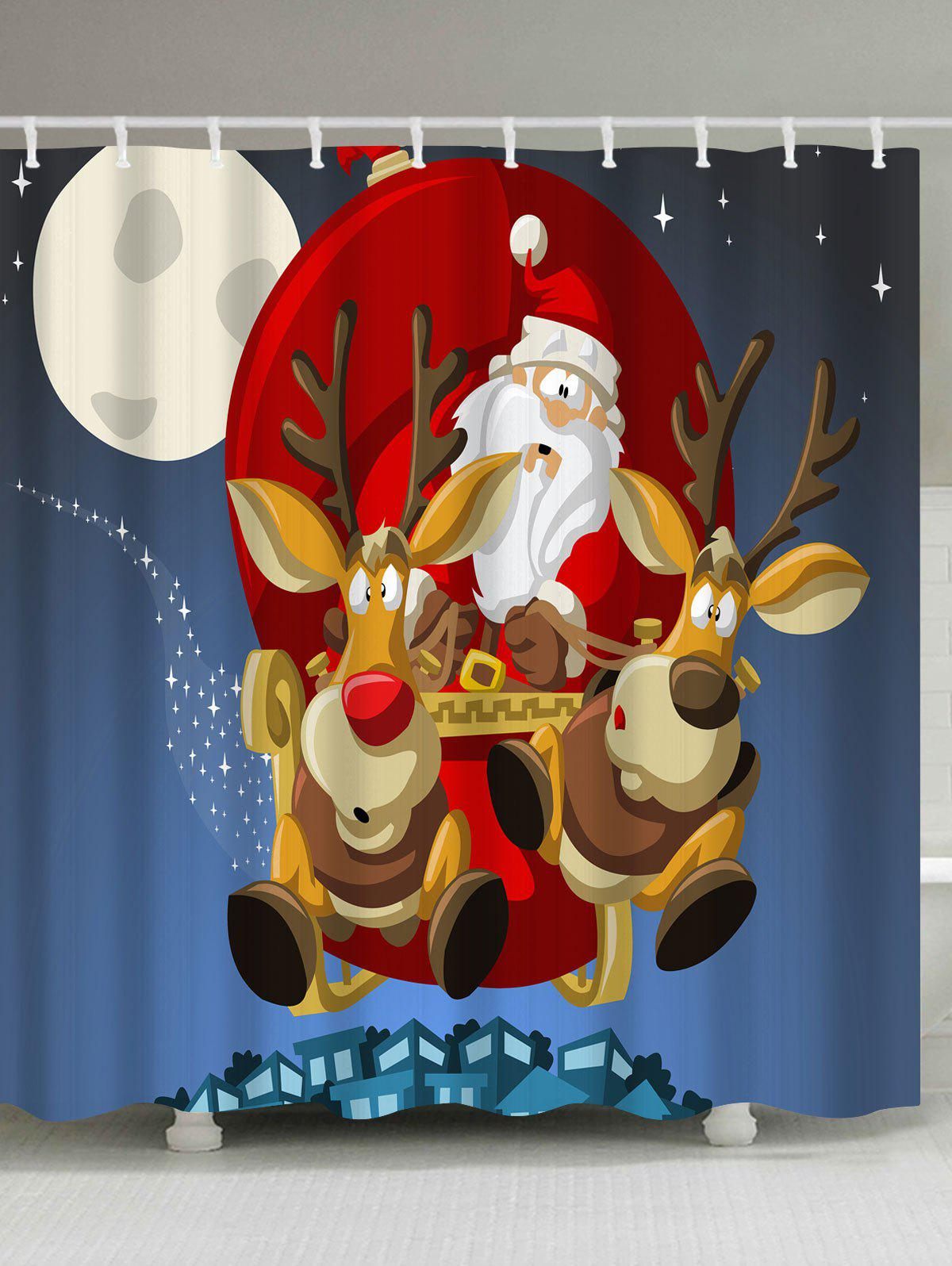 Polyester Waterproof Merry Christmas Cartoon Washroom CurtainHOME<br><br>Size: W59 INCH * L71 INCH; Color: BLUE; Products Type: Shower Curtains; Materials: Polyester; Pattern: Elk,Santa Claus; Style: Festival; Number of Hook Holes: W59 inch*L71 inch: 10; W71 inch*L71 inch: 12; W71 inch*L79 inch: 12; Package Contents: 1 x Shower Curtain 1 x Hooks (Set);