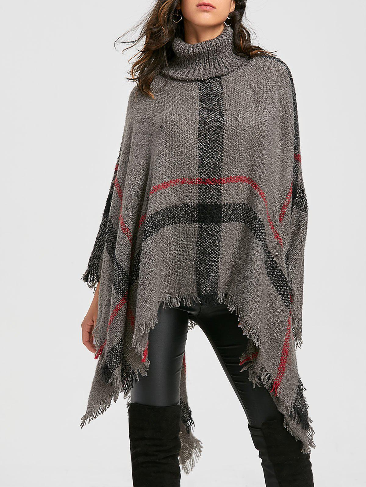 Plaid Handkerchief Turtleneck Poncho SweaterWOMEN<br><br>Size: ONE SIZE; Color: GRAY; Type: Pullovers; Material: Polyester; Sleeve Length: Full; Collar: Turtleneck; Style: Fashion; Pattern Type: Plaid; Embellishment: Tassel; Season: Fall,Spring; Weight: 0.5700kg; Package Contents: 1 x Sweater;