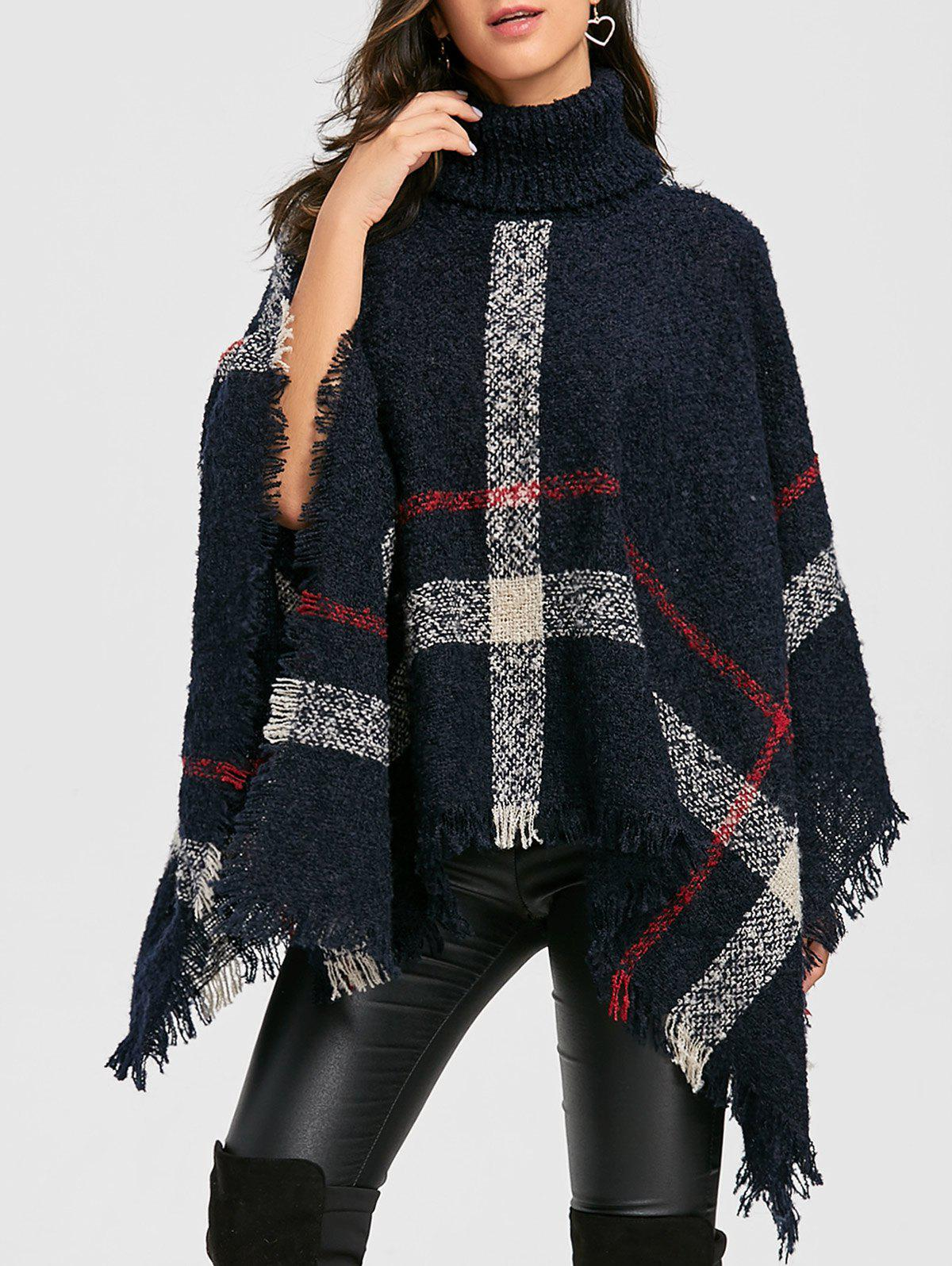 Plaid Handkerchief Turtleneck Poncho SweaterWOMEN<br><br>Size: ONE SIZE; Color: BLACK; Type: Pullovers; Material: Polyester; Sleeve Length: Full; Collar: Turtleneck; Style: Fashion; Pattern Type: Plaid; Embellishment: Tassel; Season: Fall,Spring; Weight: 0.5700kg; Package Contents: 1 x Sweater;