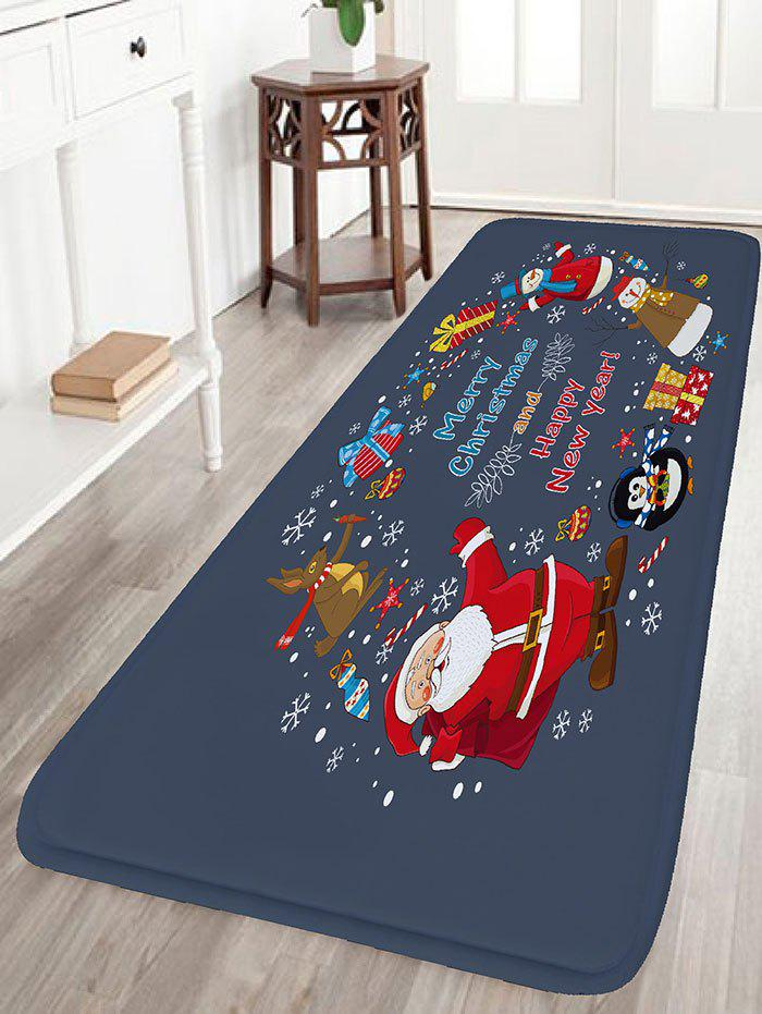 Christmas Elements Print Nonslip Flannel Bath RugHOME<br><br>Size: W16 INCH * L47 INCH; Color: BLUE GRAY; Products Type: Bath rugs; Materials: Flannel; Style: Festival; Shape: Rectangular; Package Contents: 1 x Rug;