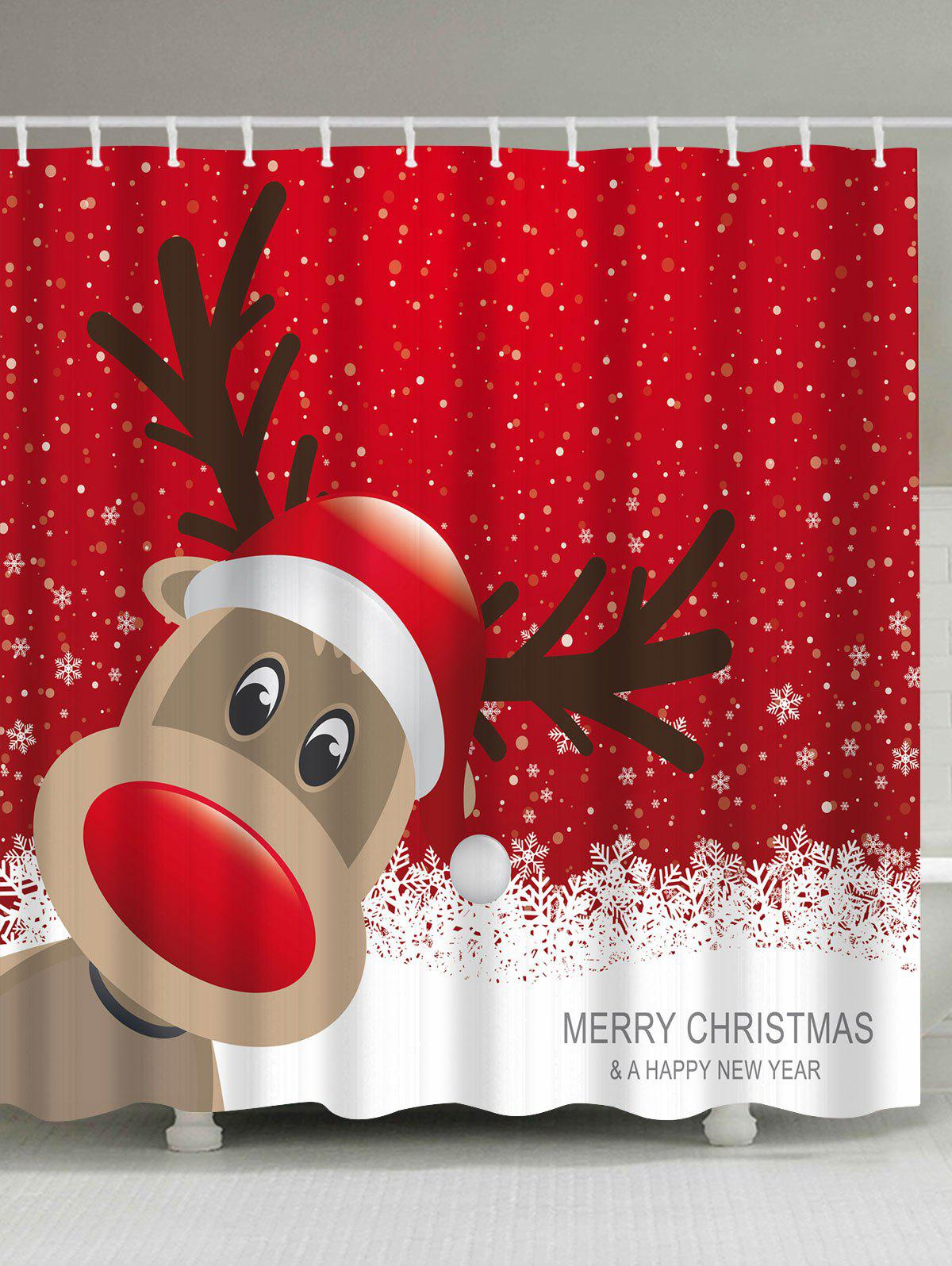 Waterproof Christmas Elk Bathroom Cartoon CurtainHOME<br><br>Size: M; Color: RED; Products Type: Shower Curtains; Materials: Polyester; Pattern: Elk; Style: Festival; Package Contents: 1 x Shower Curtain 1 x Hooks (Set);