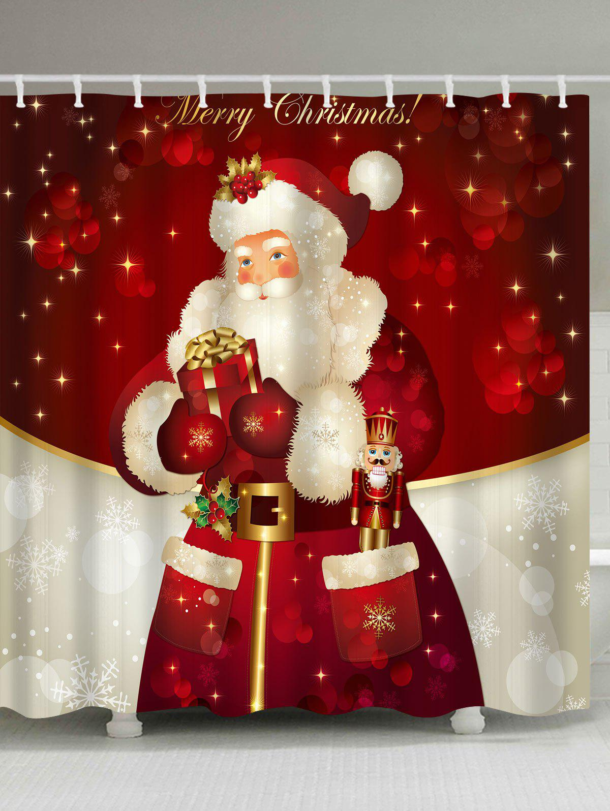 Christmas Santa Claus Waterproof Shower Curtain Barhroom DecorHOME<br><br>Size: W59 INCH * L71 INCH; Color: RED; Products Type: Shower Curtains; Materials: Polyester; Pattern: Santa Claus; Style: Festival; Number of Hook Holes: W59 inch*L71 inch: 10; W71 inch*L71 inch: 12; W71 inch*L79 inch: 12; Package Contents: 1 x Shower Curtain 1 x Hooks (Set);