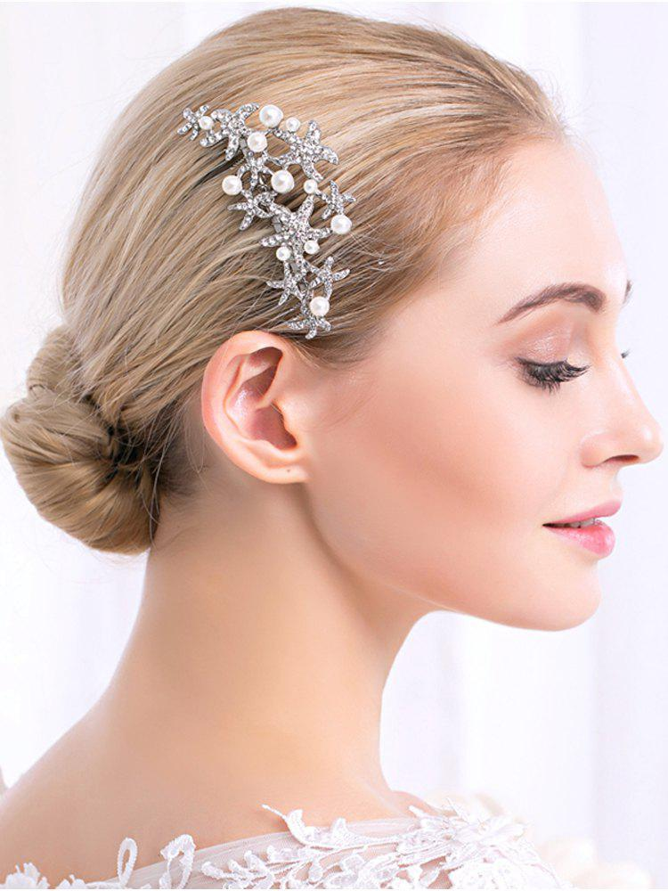 Faux Pearl Rhinestoned Starfish Wedding Hair CombACCESSORIES<br><br>Color: WHITE; Headwear Type: Hair Comb; Group: Adult; Gender: For Women; Style: Fashion; Pattern Type: Star; Weight: 0.0130kg; Package Contents: 1 x Hair Comb;