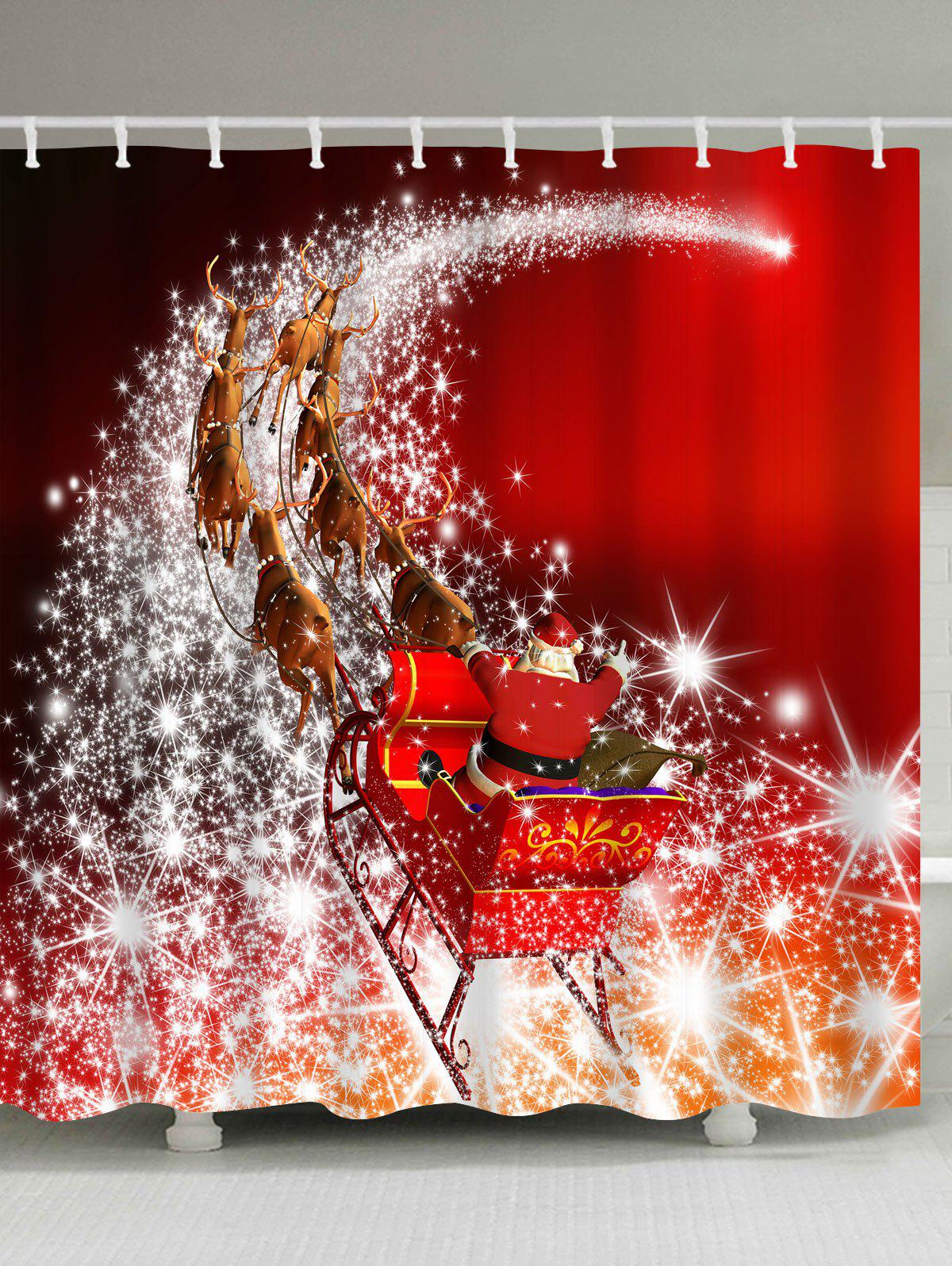 Merry Christmas Santa Coming Waterproof Barhroom Shower CurtainHOME<br><br>Size: W59 INCH * L71 INCH; Color: RED; Products Type: Shower Curtains; Materials: Polyester; Style: Festival; Number of Hook Holes: W59 inch*L71 inch: 10; W71 inch*L71 inch: 12; W71 inch*L79 inch: 12; Package Contents: 1 x Shower Curtain 1 x Hooks (Set);