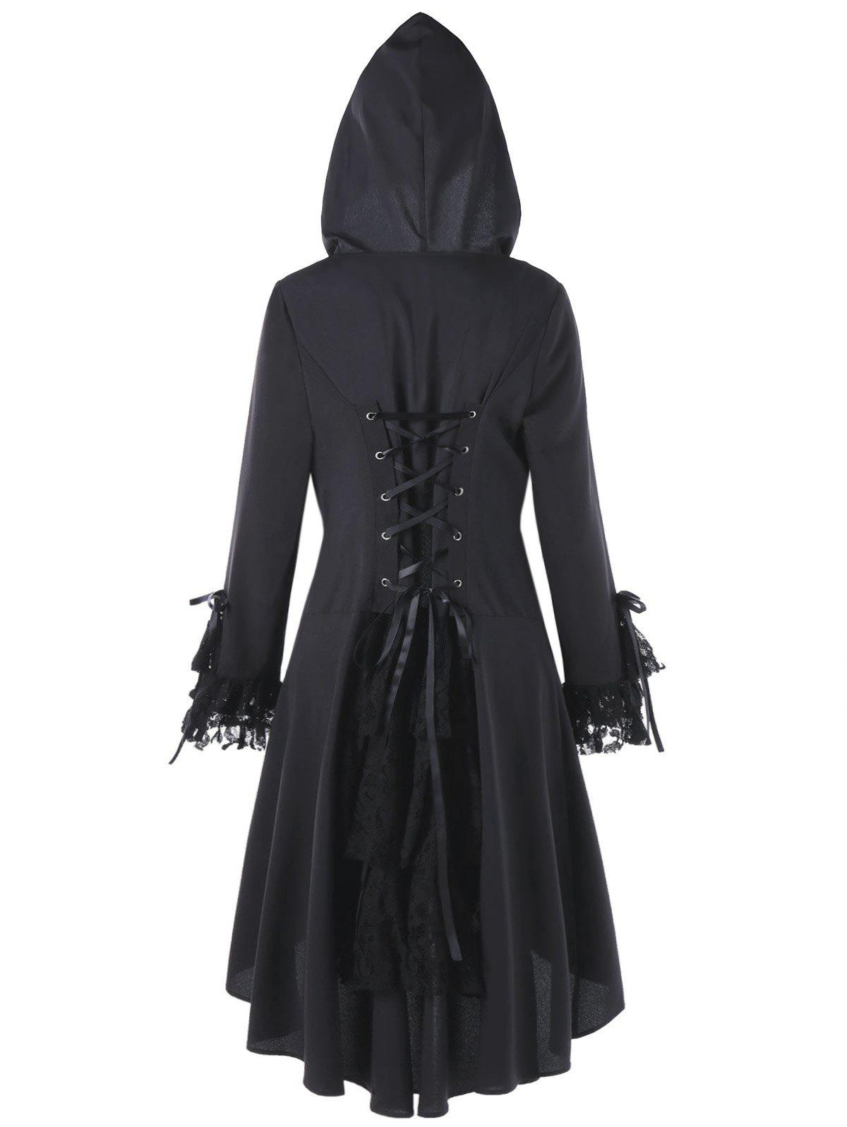 Plus Size Hooded High Low Lace Panel Lace Up CoatWOMEN<br><br>Size: 4XL; Color: BLACK; Clothes Type: Others; Material: Cotton,Polyester; Type: Asymmetric Length; Shirt Length: Long; Sleeve Length: Full; Collar: Hooded; Closure Type: Single Breasted; Pattern Type: Others; Embellishment: Criss-Cross,Lace,Panel; Style: Fashion; Season: Winter; With Belt: No; Weight: 0.4700kg; Package Contents: 1 x Coat;