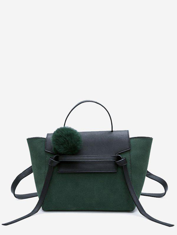 Buy Pompom Color Blocking Faux Leather Crossbody Bag