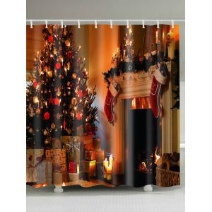 Merry Christmas Printed Mouldproof Waterproof Shower Curtain -