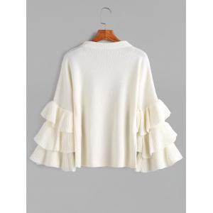 Layered Sleeve Flouncy Pullover Sweater - WHITE ONE SIZE