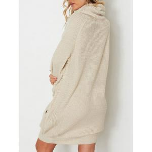 Raglan Sleeve Heaps Collar Sweater Dress -