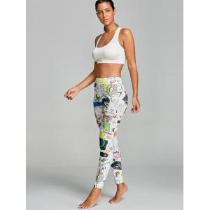 Leggings de gymnastique funky imprimé de graffiti High Rise -