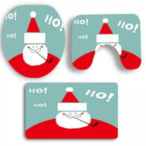 Nonslip Cute Santa Claus Pattern 3Pcs Bath Toilet Mats Set -