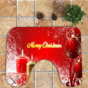 Nonslip Christmas Candle Ball Pattern 3Pcs Bath Toilet Mats Set -