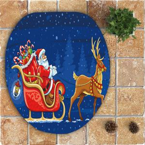 Nonslip Christmas Carriage Printed 3Pcs Bath Toilet Mats Set -